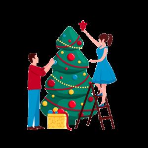 Un árbol de Navidad y una boda